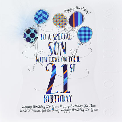 Home Store Greeting Cards Male Son Wendy Jones Blackett 21st Birthday Card CN1111