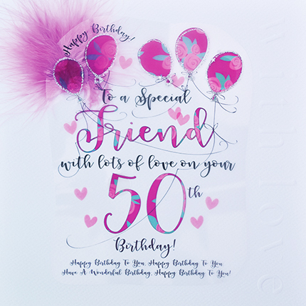 Home Store Greeting Cards Female Titles Special Friend Wendy Jones Blackett 50th Birthday Card CN1451
